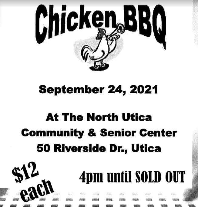 North Utica Community Center to Hold Chicken BBQ – September 24, 2021